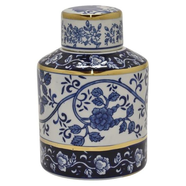 Ceramic B&w Jar W/gold in Blue Porcelain 6in L x 6in W x 9in H