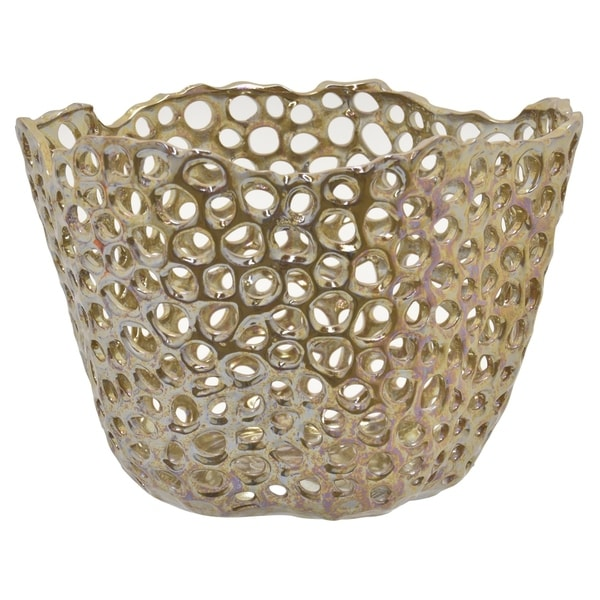 Three Hands Ceramic Bowl in Gold Porcelain 14in L x 14in W x 10in H