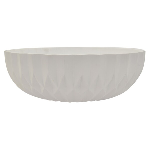 Decortive Bowl in White Resin / Magnesium 17in L x 17in W x 6in H