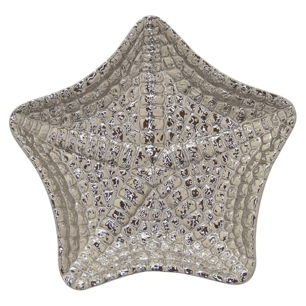 Ceramic Decorative Star Plate in Silver Porcelain 17inL x17inW x 3inH