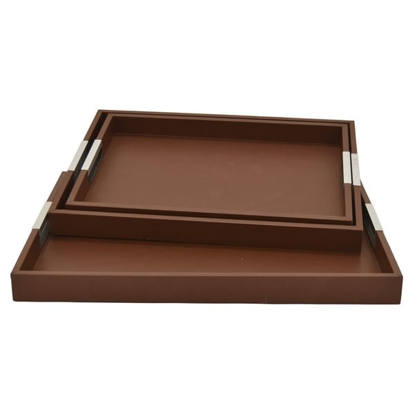 Three Hands Wood Tray Set Of 3 in Brown Wood 21in L x 15in W x 2in H