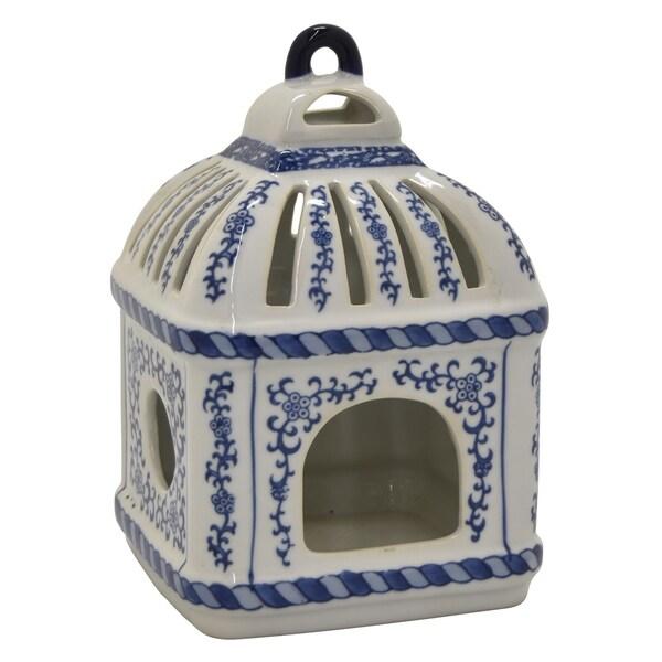 Ceramic B&w Bird Cage in Blue Porcelain 6in L x 6in W x 9in H