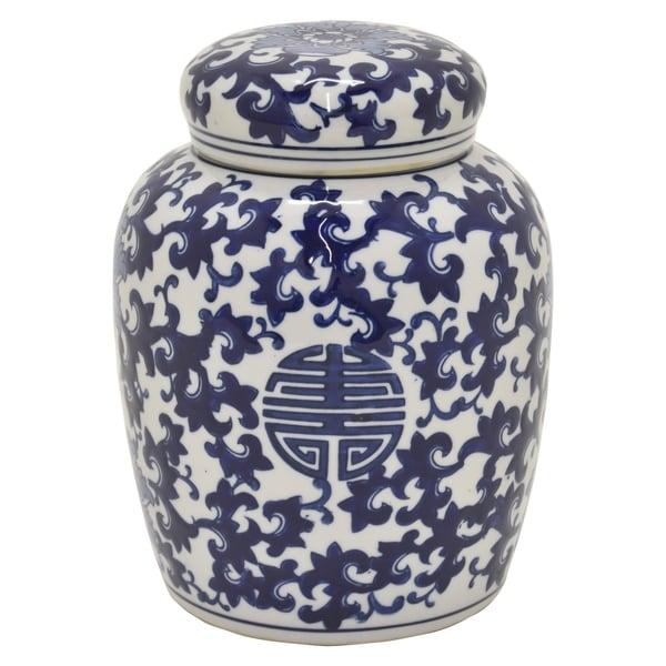 Ceramic B & W Jar in Blue Porcelain 8in L x 8in W x 10in H