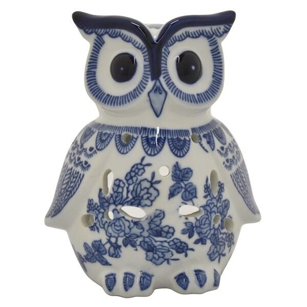 Three Hands Ceramic B&w Owl in Blue Porcelain 6in L x 5in W x 8in H