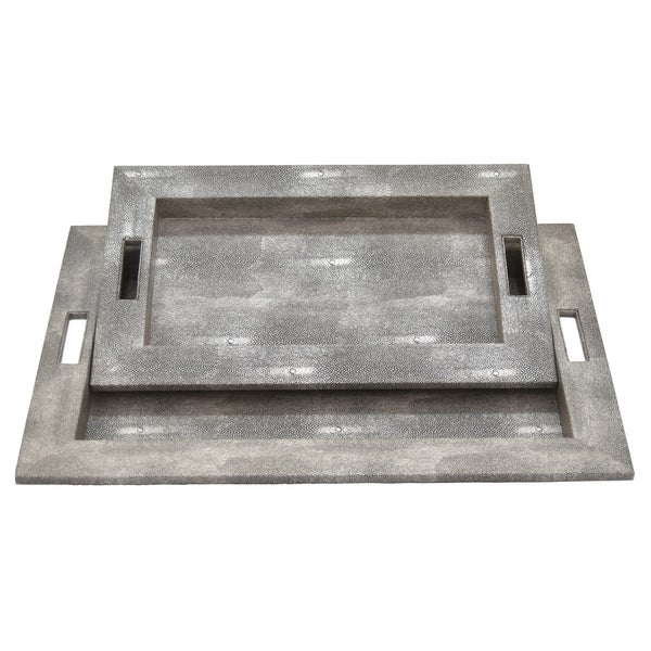 Three Hands Wood Tray Set Of 2 in Gray Wood 21in L x 15in W x 2in H