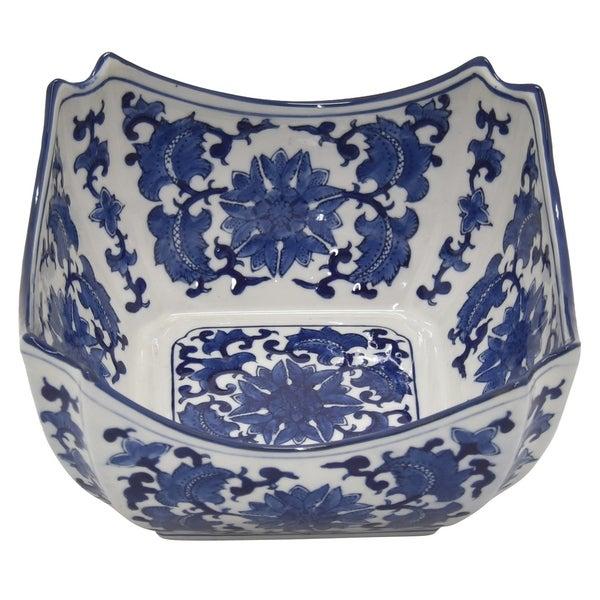 Three Hands Ceramic B&w Bowl in Blue Porcelain 9in L x 9in W x 5in H