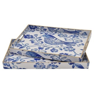 Tray - Set Of 2 in Blue Resin / Magnesium 19in L x 14in W x 2in H