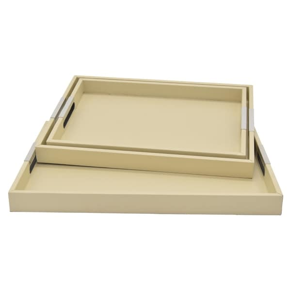 Three Hands Wood Tray Set Of 3 in White Wood 21in L x 15in W x 2in H