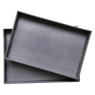 Tray - Set Of 2 in Gray Resin / Magnesium 19in L x 14in W x 2in H