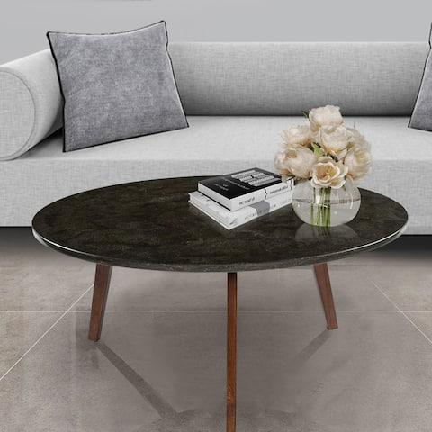 Carson Carrington Tangeberg 31-inch Round Black Marble Coffee Table