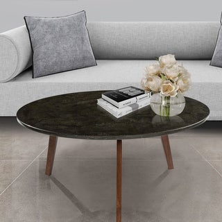 Carson Carrington Tangeberg 31-inch Round Black Marble Coffee Table