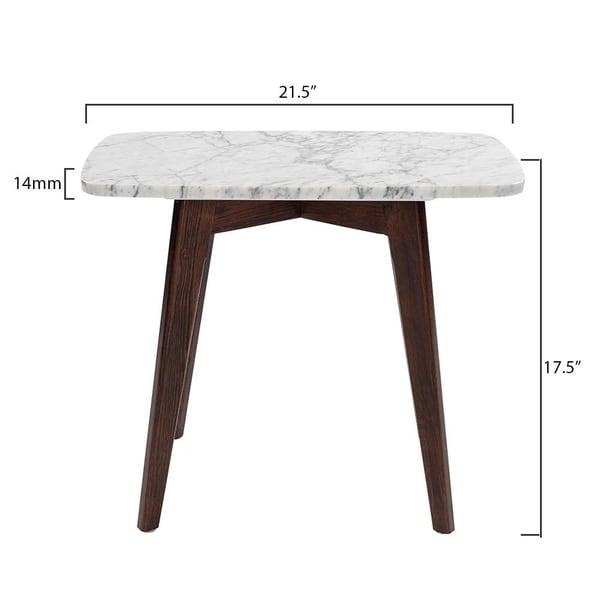 """Carson Carrington Tangalund Rectangular Italian Carrara Marble Table - 12"""" x 21"""" - 21.5""""L x 12""""W x 17.5""""H"""