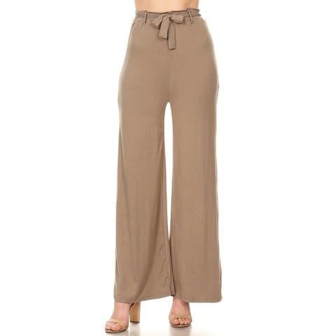 Solid Casual Stretch Knit Elastic Waist tie Belt Wide Leg Pants