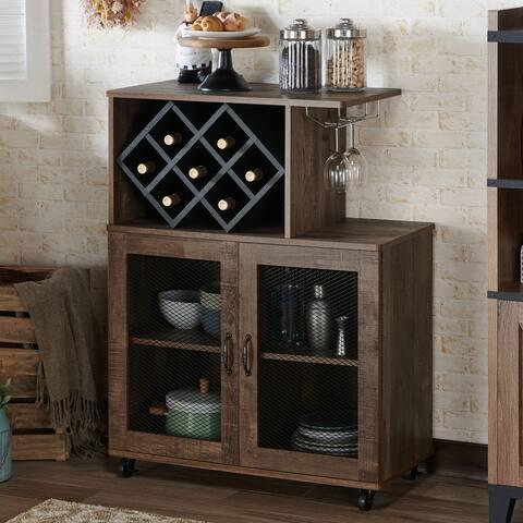 Furniture of America Laut Rustic Oak 4-shelf Mini Bar