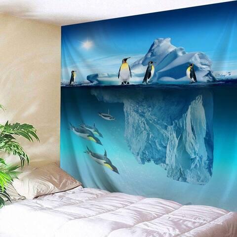 """Penguins Iceberg Tapestry90"""" x 71"""""""