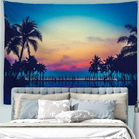 "Ocean Beach Sunset Tapestry 90"" x 71"""
