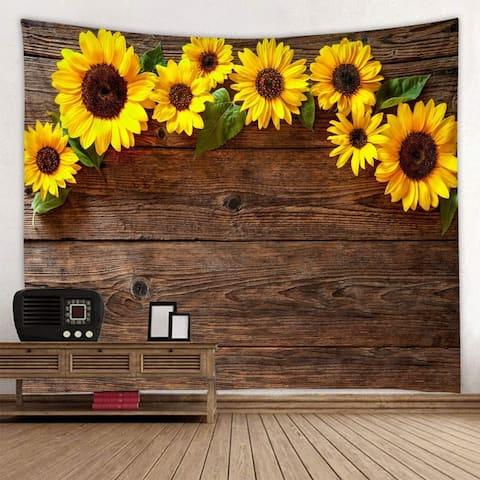 "Wooden Board Sunflower Tapestry 59"" x 51"""