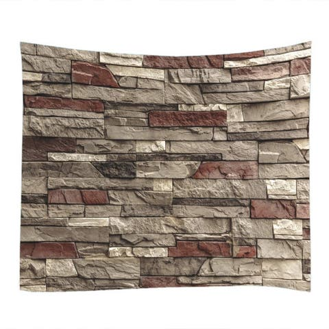 "Stone Wall Print Fabric Tapestry 79"" x 59"""