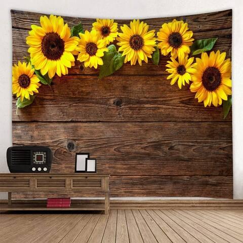 "Wooden Board Sunflower Tapestry 91"" x 71"""