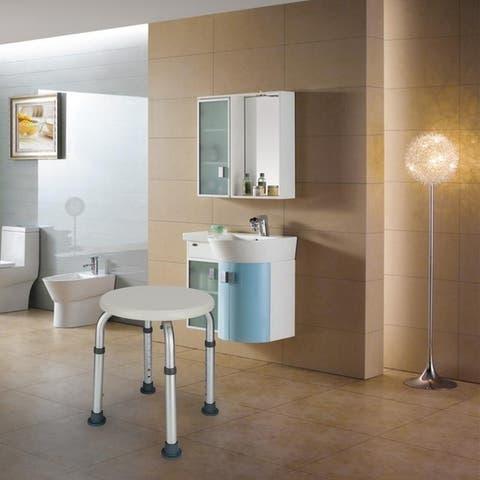 Aluminum Alloy Shower stool with Sucker Armrest White