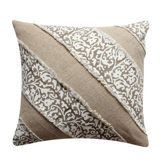 18 x 18 Hand Block Printed Cotton Pillow with Patchwork Details, Brown and Beige