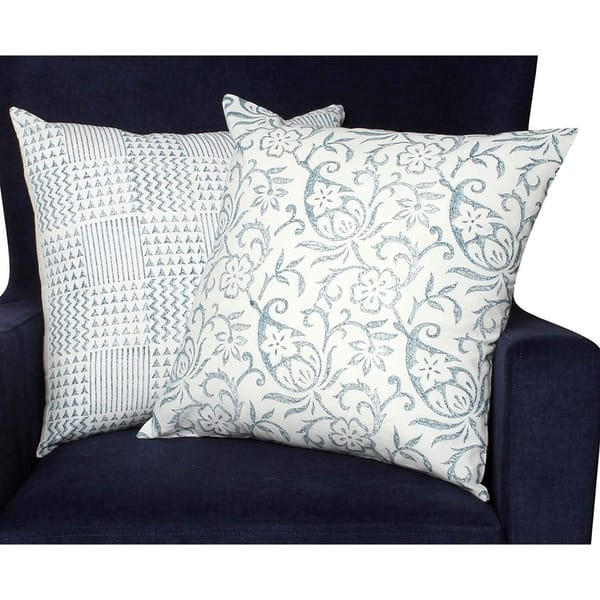 18 X 18 Nature Inspired Geometric Cotton Pillow Set Blue And White Overstock 29755119