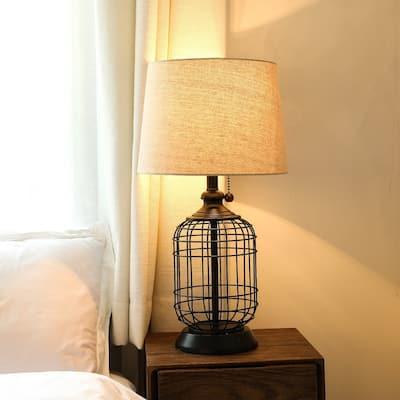 "CO-Z 18"" Modern Black Birdcage Base Table Lamp"