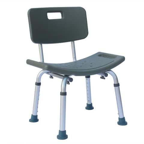 Heavy-duty Aluminum Alloy Shower stool With Backrest Blue/Grey - N/A