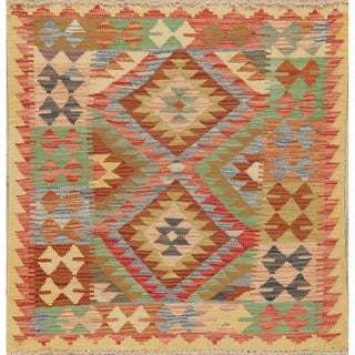 "Southwestern Pastel Hand Woven Tribal Kilim Turkish Area Rug Square - 3'3"" X 3'1"" Square"