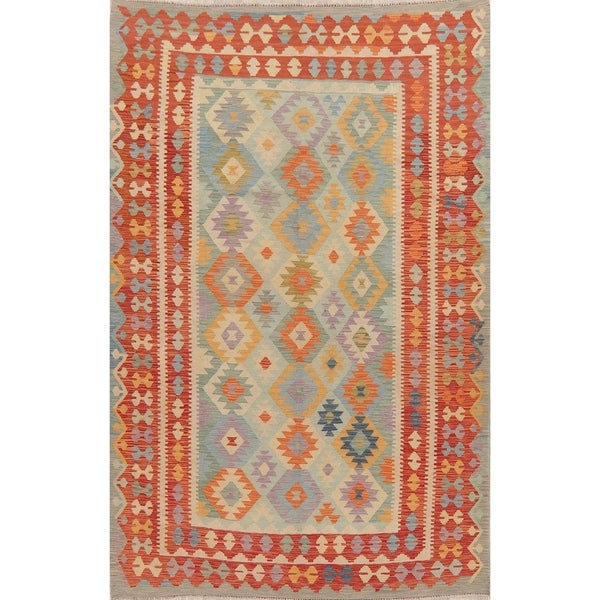 "Geometric Tribal Pastel Hand Woven Southwestern Kilim Turkish Area Rug - 9'11"" X 6'5"""