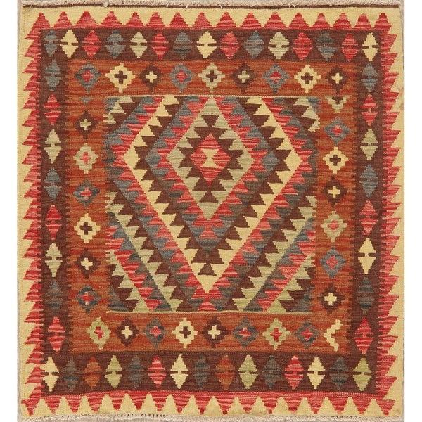 "Southwestern Pastel Tribal Kilim Turkish Hand Woven Area Rug Square - 3'9"" X 3'7"" Square"