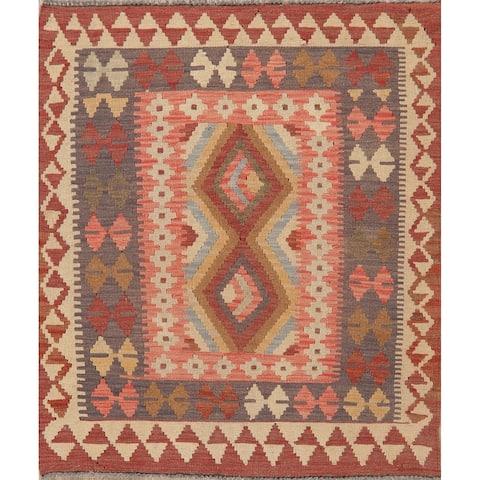 "Southwestern Pastel Tribal Kilim Hand Woven Turkish Oriental Area Rug - 4'0"" X 3'2"""