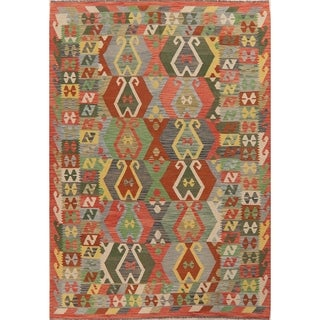 "Pastel Hand Woven Southwestern Tribal Kilim Turkish Geometric Area Rug - 9'8"" X 6'10"""