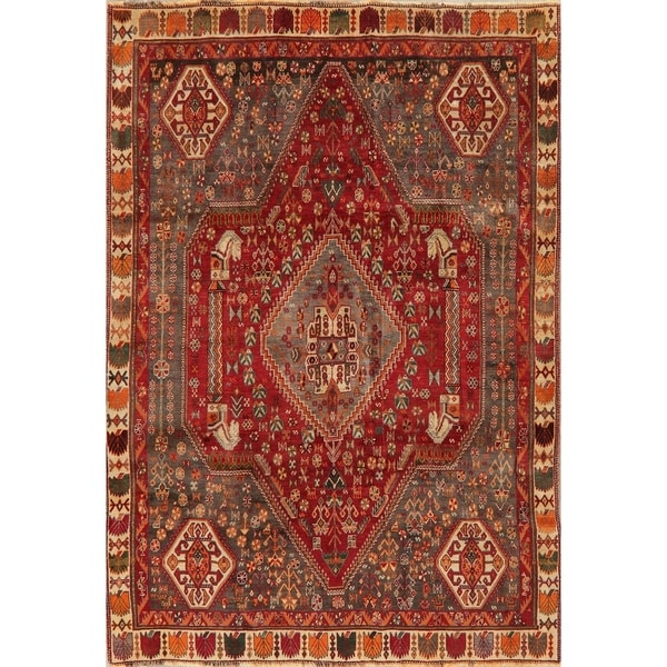 """Diamond Vintage Hand Knotted Tribal Abadeh Persian Oriental Area Rug - 8'10"""" X 6'1"""""""