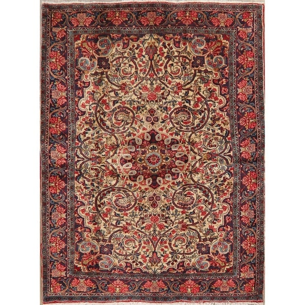 "Medallion Vintage Hand Knotted Floral Bidjar Persian Bordered Area Rug - 6'7"" X 4'10"""