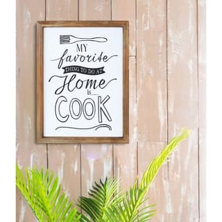 Cook At Home Wood Wall Sign