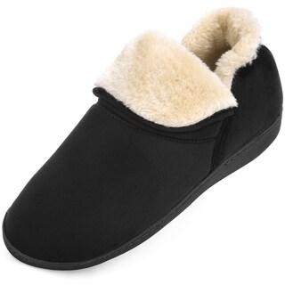 Men's Memory Foam  Plush Warm Ankle Bootie Slippers - Anti-Skid Sole Indoor Outdoor Winter Boots