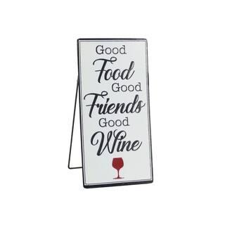 Tabletop Metal Good Food Good Friends Good Wine Inspirational Kitchen Art