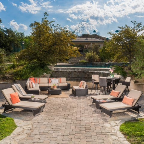 Belize Wicker and Sand Sunbrella Cushion Sectional Set, Bar Height Dining Set and Lounge by Christopher Knight Home