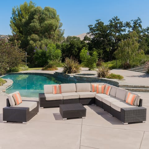(Costco) Belize Outdoor 9 Piece Dark Brown Wicker Sectional Set by Christopher Knight Home