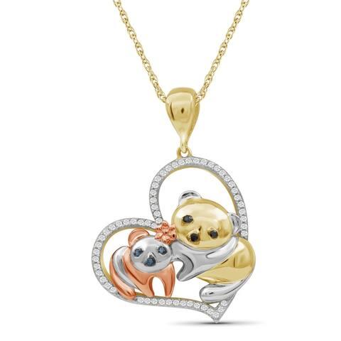 JewelonFire 1/7 Ct Multi Color Diamond Heart Panda Pendant in 3-tone Silver