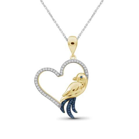 JewelonFire 1/7 Ct Blue & White Diamond Heart Bird Pendant in Gold over Silver