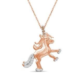 JewelonFire 1 10 Ct Champagne White Diamond Unicorn Pendant In Rose Gold Over Silver