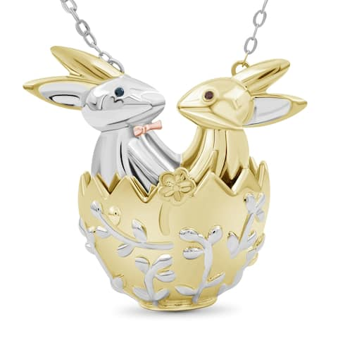 JewelonFire Accent Blue & Red Diamond Bunny Egg Necklace in 3-tone Silver