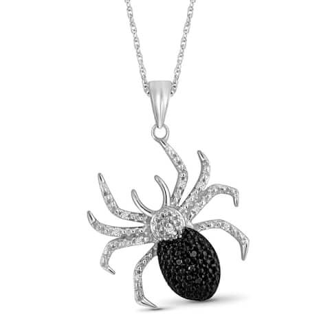 JewelonFire 1/20 Ct Black & White Diamond Spider Pendant in Sterling Silver