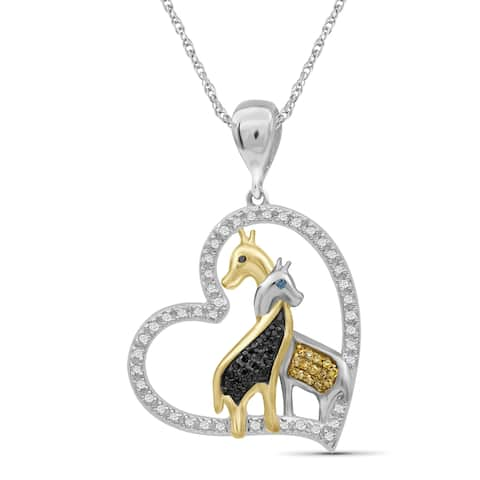 JewelonFire 1/5 Ct Multi Color Diamond Giraffe Pendant in 2-tone Silver