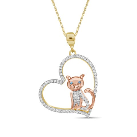 JewelonFire 1/4 Ct Blue & White Diamond Heart Cat Pendant in 2-tone Silver
