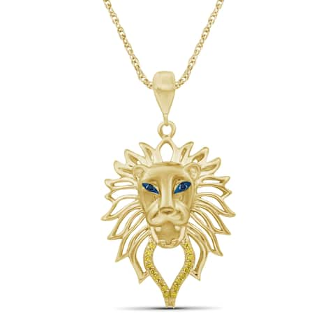 JewelonFire 1/20 Ct Blue & Yellow Diamond Lion Pendant in Gold over Silver