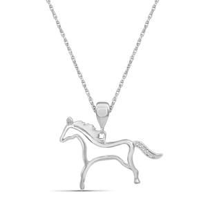 JewelonFire Accent Genuine White Diamond Horse Pendant In Sterling Silver