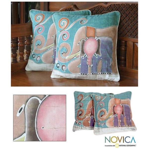 Handmade Cotton Batik Mom and Baby Cushion Set of Two Covers (Thailand) (As Is Item)